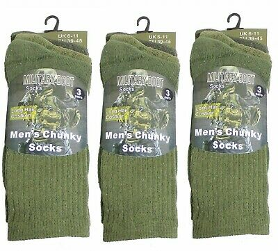 3 Pairs Of Men's Army Socks Winter Thermal Long Military Boot Sock, Size 6-11 • 8.99£