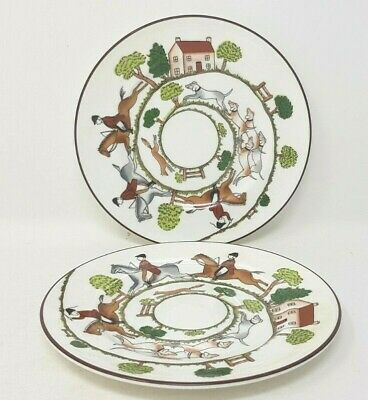 Crown Staffordshire Hunting Scene 2 X 6.25 Inch Side Or Tea Plates Wedg Coalport • 24.99£