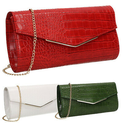 Jade Faux Leather Croc Skin Effect Envelope Smart Womens Clutch Bag • 15.99£