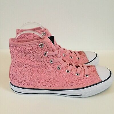 Converse All Star Pink Lace Love Heart High Tops Size 4 New With Tags • 28£