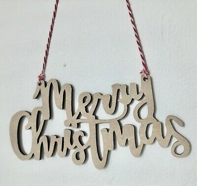 Wooden Merry Christmas Sign Shapes Embellishments MDF Wood Craft Tags Blanks  • 2.50£