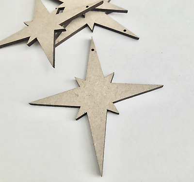 Wooden Scandi Star Shapes Embellishments Craft MDF Wood Hole Tags Blanks  • 1.90£