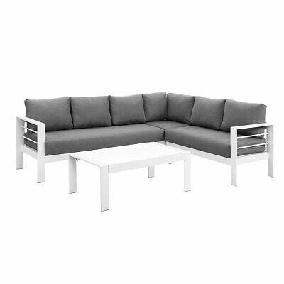 AU899.99 • Buy New White Outdoor Aluminium Sofa Lounge Setting Furniture Set Arms Chairs Table
