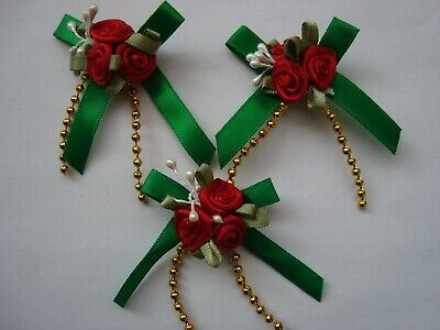 Ribbon Triple Rose Bud Cluster Green And Red - Packs Of 4 - Christmas Craft • 2.50£