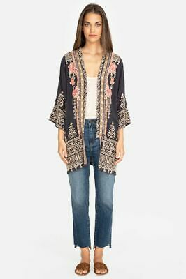 $315 • Buy Johnny Was Helena Kimono Graphite Gray Grey Embroidery Flowers Pink Top XS NEW