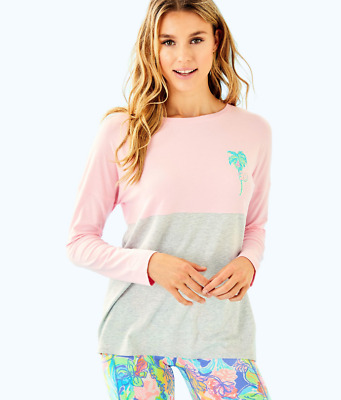 Lilly Pulitzer Women's Finn Long Sleeved Tee In Pink/Grey 0810 Size S • 51$
