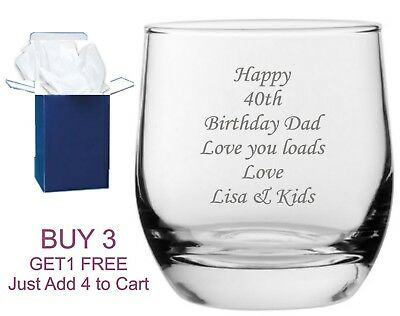 £8.95 • Buy Personalised Whiskey Glass Birthday 18th 21st 30th 40th 50th 60th 70th 80th Gift