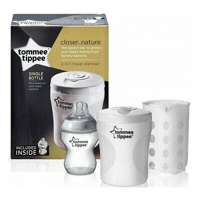 £14.95 • Buy Tommee Tippee Closer To Nature Single Bottle 2 In 1 Travel Microwave Steriliser