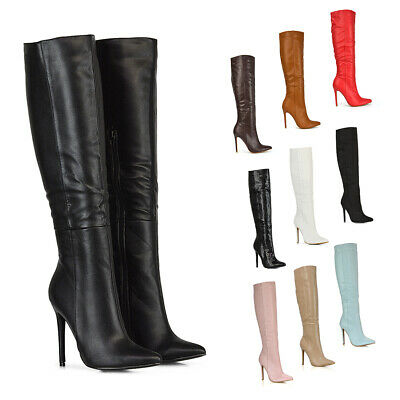New Womens Knee High Boots Mid High Heel Ladies Pointed Toe Shoes Size 3-8 • 29.99£