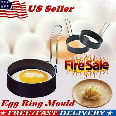 $10.44 • Buy 2x Metal Egg Frying Ring Perfect Circle Round Fried/Poach Mold+Handle Non-Stick