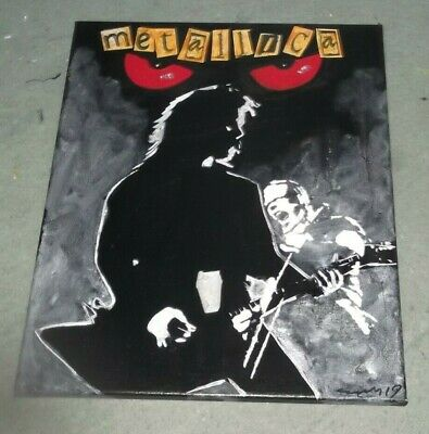 METALLICA  HAND PAINTED Canvas 20 X 16 INS  INS..PAINTING. ART. • 19£