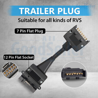 AU18.98 • Buy Adaptor Trailer 7 Pin Flat Male Plug To 12 Pin Female Socket Caravan Connector
