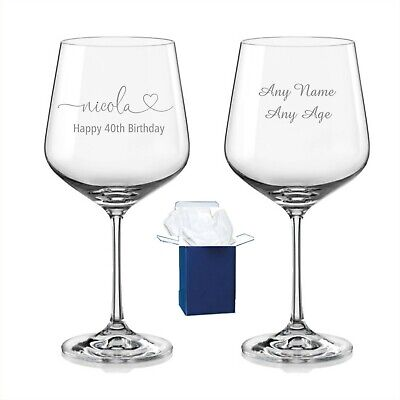 Personalised Engraved Gin & Tonic Balloon Glass Mum Birthday 18th 30th 40th Gift • 11.98£