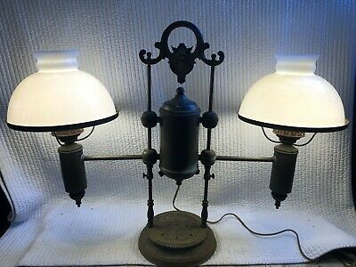 $895 • Buy RARE 1800's LARGE ANTIQUE DOUBLE STUDENT LAMP GOTHIC BRASS HEAVILY DECORATED