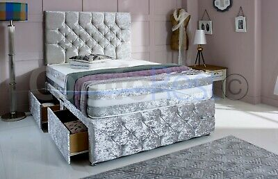 IMAX CHESTERFIELD , CRUSHED VELVET DIVAN BED, 4'6 Double, 5  King, MADE IN UK • 259£