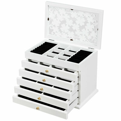 Vintage Wooden Jewellery Box Chest Rings Necklaces Storage Organiser Cabinet • 39.99£