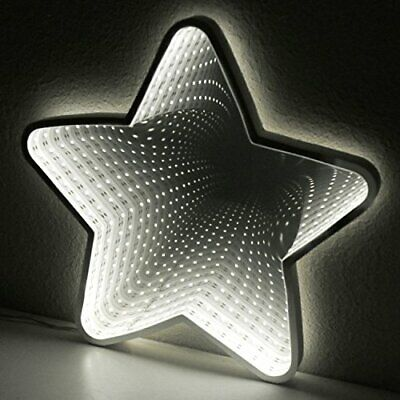 £21.95 • Buy 32cm Double Sided Star Infinity Mirror Light Warm White LED's Battery Home Decor