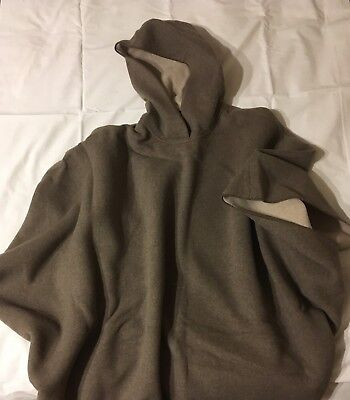 $115 • Buy Lands' End Hooded Wool Poncho Capes Taupe & Tan One Size Fits Most Men Or Women