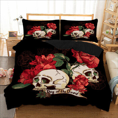 Gothic Skull Rose Duvet Cover Bedding Set Pillow Cases Single Double King Sizes • 24.50£