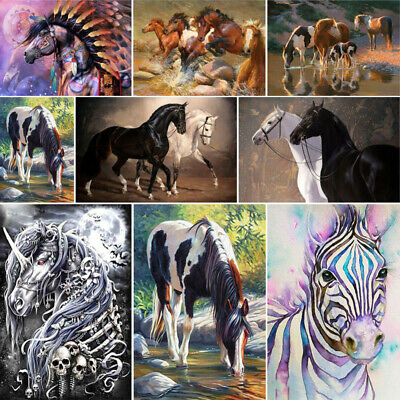 DIY Full Drill 5D Horse Diamond Painting Art Home Decors Embroidery Kits Gift UK • 4.99£