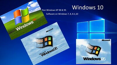 Virtual Machine To Run Windows 95 98 XP GAMES & SOFTWARE On Windows 7 8 10 • 5.99£