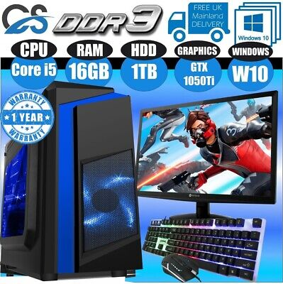 Fast Gaming PC Computer Bundle Intel Quad Core I5 16GB 1TB Win10 4GB GTX1050Ti • 339.99£