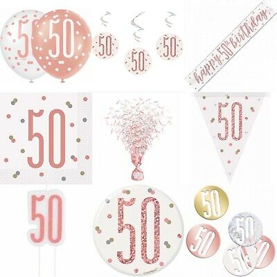 50th Birthday Rose Gold, Decorations,Party,Confetti,Balloons,Banner,Flag Bunting • 7.99£