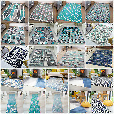 Modern Teal Rug | Cheap Rugs For Living Room | Soft Non Shedding Bedroom Carpet • 39.95£