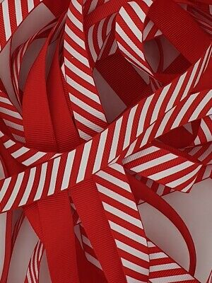 £3.45 • Buy Candy Stripe Christmas Ribbon Red 3mm 6mm 9mm 16mm And 22mm X Per 4m