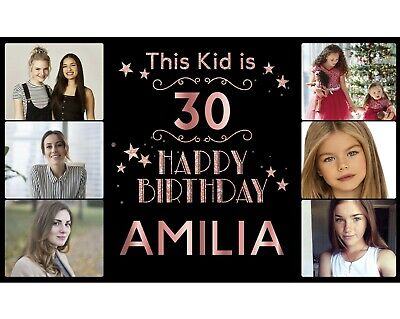 Personalised Birthday Banner Photo Silver Gold Rose Gold Party Wedding Poster • 15.49£