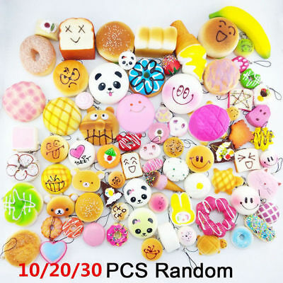 AU14.35 • Buy 10/20/30PCS Random Kawaii Squishies Bun Toast Donut Soft Bread Squishy Charm AU