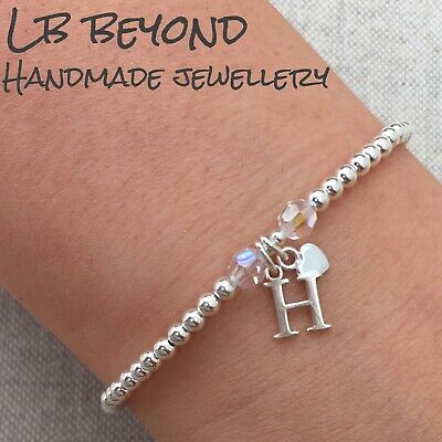 £18.99 • Buy Sterling Silver 925 Beaded Stretch Stacking Bracelet With Initial Charm, Letter