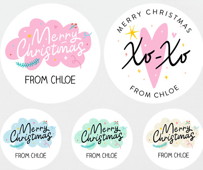 45x Personalised Christmas Stickers Santa Father Christmas Present Labels • 2.44£