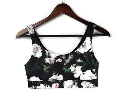 Victorias Secret Womens M Victoria Sport Black Soft Rose Floral Sports Bra • 18.90$