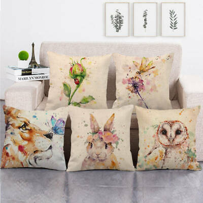 Watercolor Animal Lion Owl Bird Rabbit Throw Pillow Covers Square Cushion Case • 2.36£