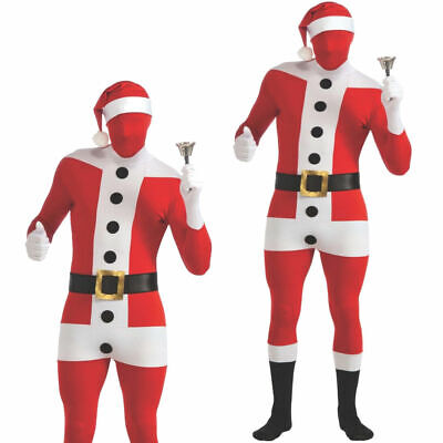Deluxe Santa Suit Disappearing Man Christmas Costume Second Skin Mens Fancy Dres • 17.99£