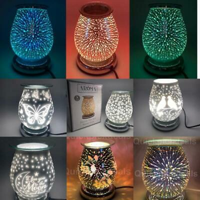 Electric Wax Melt Burner Aroma 3D Lamp Mirror Finish Pattern Touch Control GIFT • 24.95£