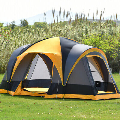 AU172.99 • Buy 8 Person Family Camping Tent Hiking Beach Canvas Swag Dome Waterproof 2 Doors