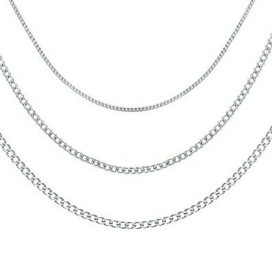 925 Sterling Silver Curb Necklace Chain In Various Lengths With A Gift Bag • 5.99£