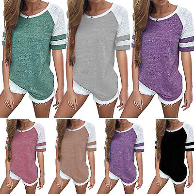AU13.29 • Buy Plus Size Womens Short Sleeve Patchwork Loose T-Shirt Striped Summer Blouse Tops