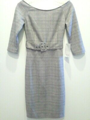 Zara XS Checked Polyester Blend Wide Neck 3/4 Sleeve Sheath Belted Dress • 34.99$