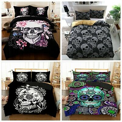 Gothic Skull Duvet Cover Single Double King Sizes Bedding Set With Pillow Cases • 21.99£