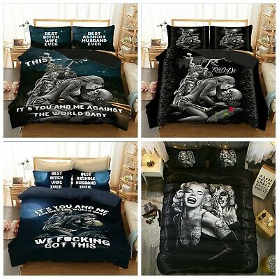 Gothic Skull Love Duvet Cover Quilt Cover Bedding Set Pillow Cases All Sizes New • 22.99£