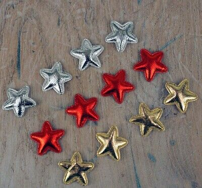 Stars For Cards, Decorations, Ideal For Kids Craft, Xmas, Pk 12, Gold,Silver Red • 2.45£