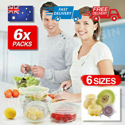 AU11.85 • Buy 6/12X Stretch Reusable Silicone Bowl Wraps Food Saver Cover Seal Lids NSTA LIDS