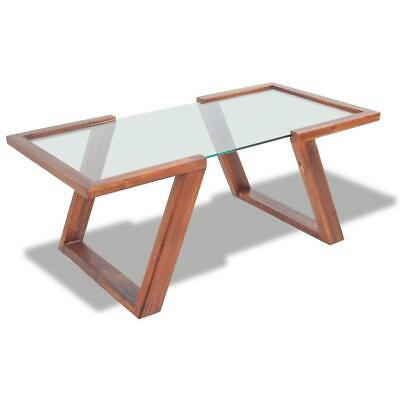 AU149.90 • Buy Living Lounge Room Furniture Coffee Table With Glass Top - Acacia Wooden Frame