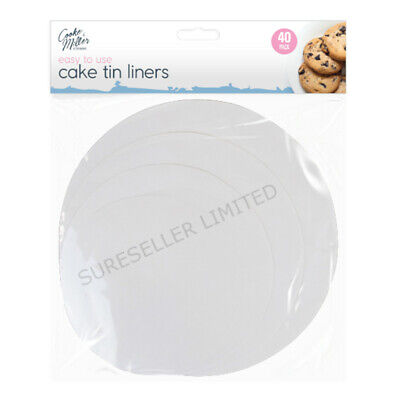 40 Pack CAKE LINERS Non Stick Grease Proof Circles Round Paper Cake Tin Liner  • 2.79£
