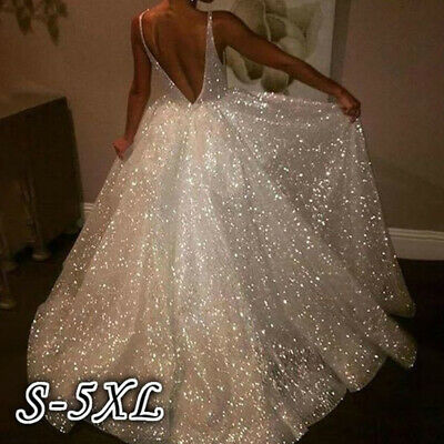 AU40.97 • Buy Women V Neck Sequins Party Prom Gown Backless Cocktail Wedding Long Maxi Dress