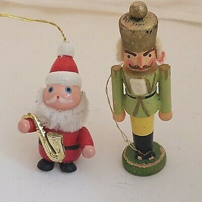 $ CDN27.24 • Buy Vintage Wooden Christmas Ornaments Santa Saxophone 2  And Nutcracker 3  Preowned