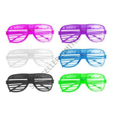 Colour LED Flashing Glasses Light Up Retro Shutter Slotted Adults Kids Party  • 2.65£